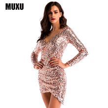 MUXU sexy patchwork gold sequin dress glitter long sleeve club womens clothing short clothes bodycon elegant 2018