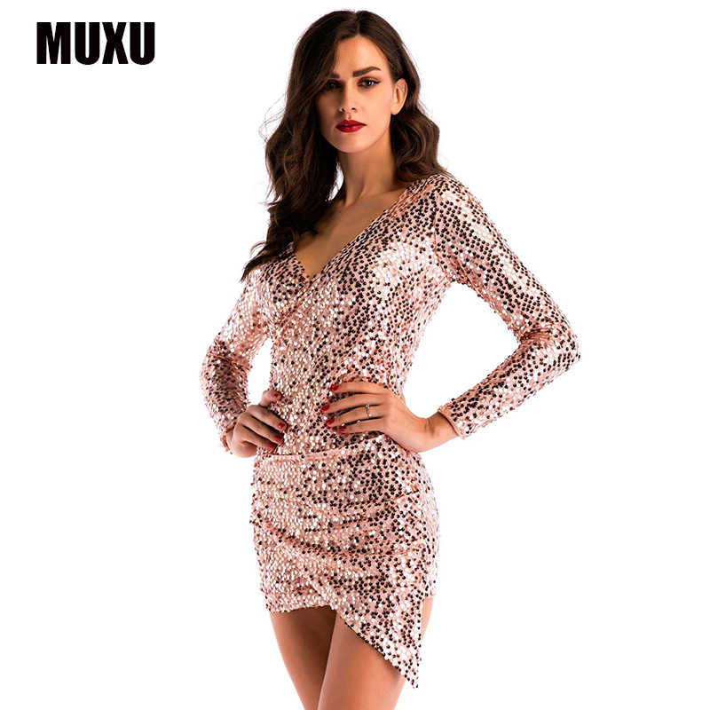 e2275079a873 MUXU sexy patchwork gold sequin dress glitter long sleeve club womens  clothing short dress clothes bodycon