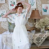 LYNETTE S CHINOISERIE Summer Original Design Women High Quality Embroidery Daisy Fresh Japanese Mori Girls Pleated