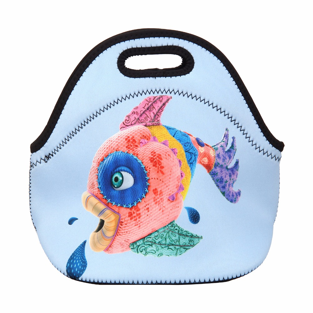 Cute Fish Print Portable Lunch Bag Women Kids Waterproof Lunch Cooler Box Tote Thermal Food Container Single Handle Hangbag