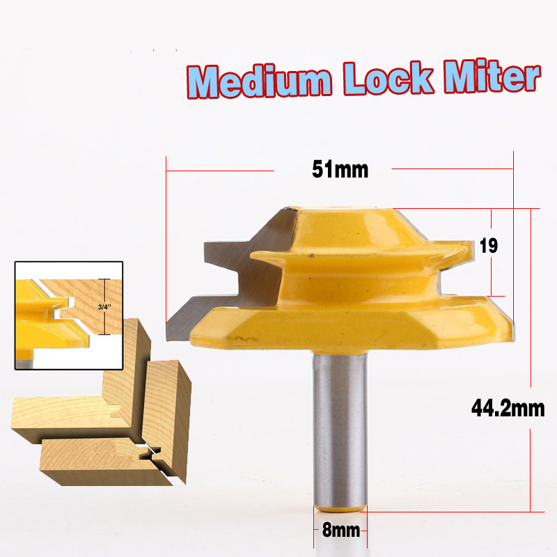 8mm Shank Lock Miter Router Bit Anti kickback 45 Degree 1 2 3 4 Inch Stock Tenon Cutter for Woodworking Tools in Milling Cutter from Tools