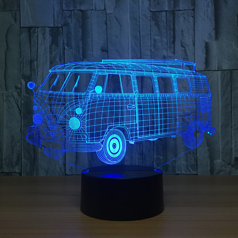 Baby Sleeping Night Light Novelty LED 3D Visual Camping Bus Lamp Color Changing Table Lamp Xmas Gifts Car Lampara Light Fixtures