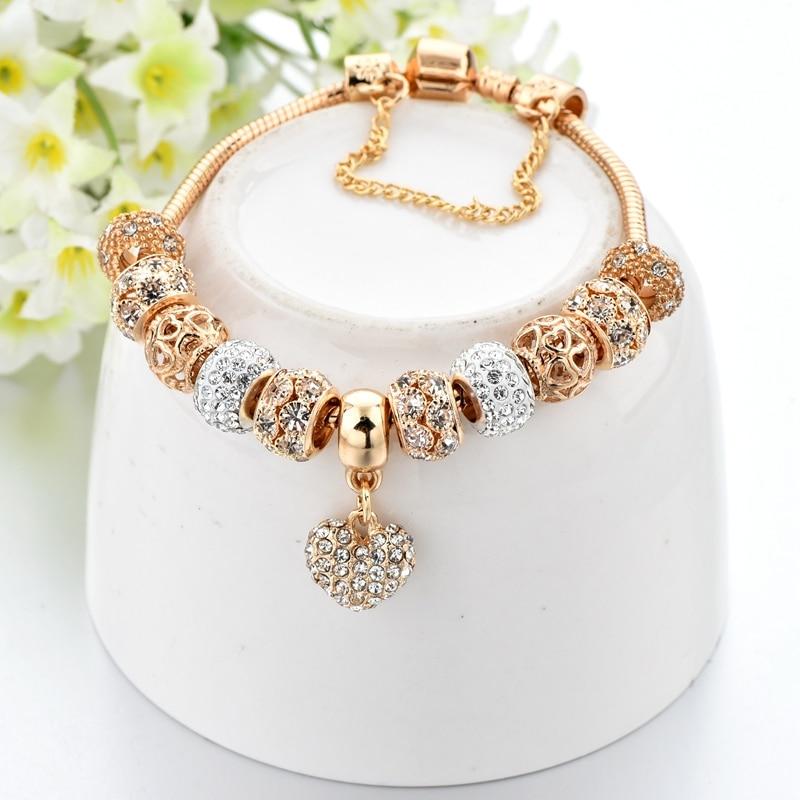 ATTRACTTO luksuslik kristall süda võlu käevõrud & käevõrud kuld - Mood ehteid - Foto 3