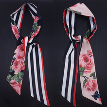 110cm*7cm Rose Flower Long Skinny Scarf Striped double-sided Printe Twill Silk Scarves Womens Bag Ribbons Headband