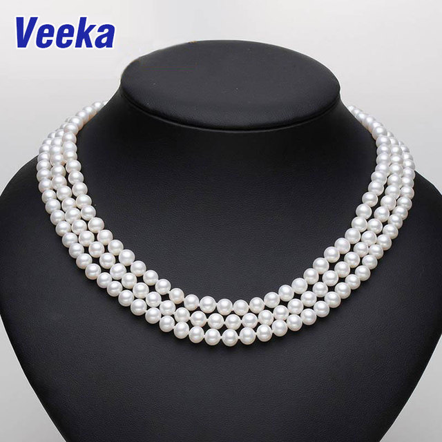 3 strand vintage choker necklaces real round freshwater pearl necklace wedding white pearl jewelry for women gift