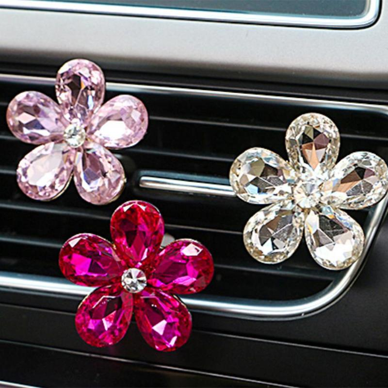 HTB1U24muKuSBuNjy1Xcq6AYjFXaU VODOOL Car Interior Accessories Automobile Air Conditioner Outlet Crystal Flower Decor Car Ornaments Vent Perfume Decoration