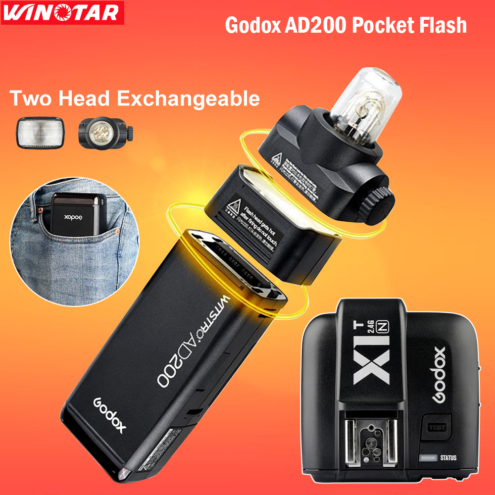 Godox AD200 Pocket Flash Speedlite Double Light Heads 200W 2.4G TTL HSS with 2900mAh Lithium Battery + X1T-C Trigger for Nikon free tax to russia new 42cm godox ad s3 beauty dish with grid for witstro speedlite flash ad180 ad360