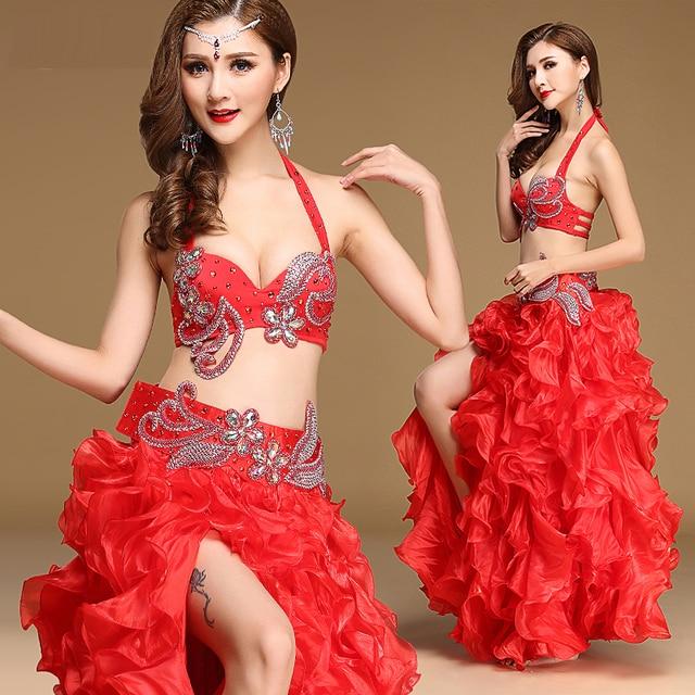 전문 댄스 의류 여성 성능 탑 + 벨트 + 스커트 3pcs 밸리 댄스 세트 여자 밸리 댄스 복장 S/M/L