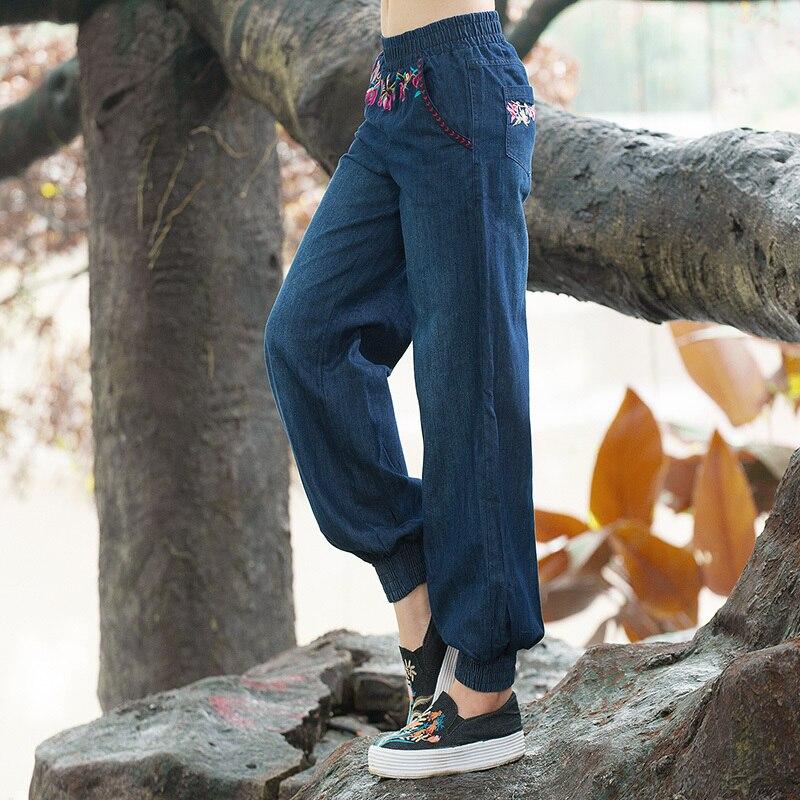 De E777 Pantalones Moda Las Bordado Mujer Harem Vaqueros Cintura Elástico Jeans Con Mujeres Floral Denim gw0nA6q