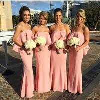 Vestido De Damas De Honra Adultas 2017 Pink Mermaid Bridesmaid Dress High Quality Off Shoulder Wedding