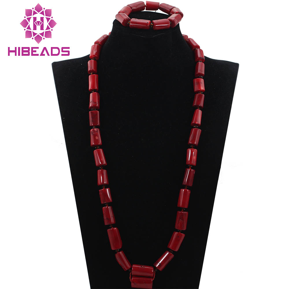 High Quality Men Coral Beads Necklace Bracelet Set 30 inches Nigerian Wedding Groom Jewelry Set 2017 High Quality Men Coral Beads Necklace Bracelet Set 30 inches Nigerian Wedding Groom Jewelry Set 2017 Free Shipping CNR726