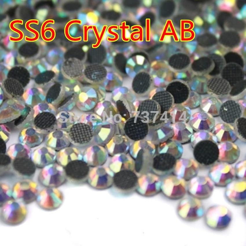 ss6 (1.9-2mm) 1440 հատ հատ Crystal Clear White AB DMC Hotfix Rhinestone Flat Back Iron On Hot Fix Strass Transfer Designs