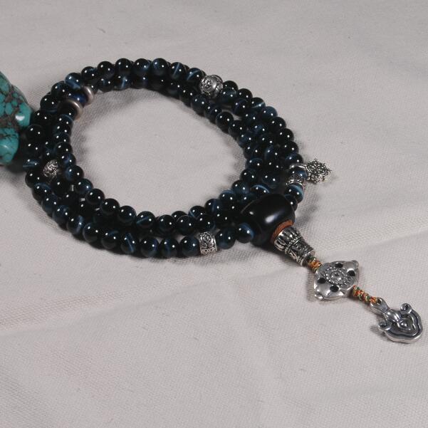 8mm blue tiger eye beads Mala Buddhist 108 prayer beads mala blessed mala Genuine blue cat eye buddhist prayer beads цена