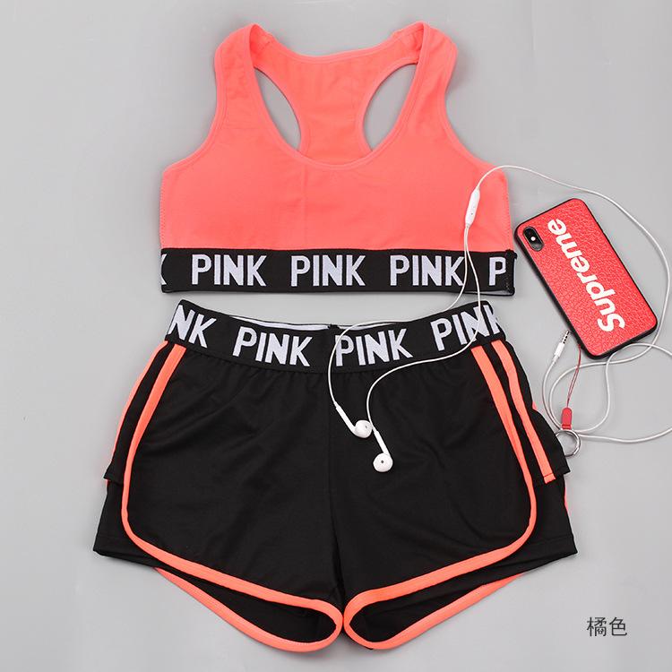 dfa423afa3c21 Women New Vs Secret Pink Letter Bra   Brief Shorts Lounge Underwear ...
