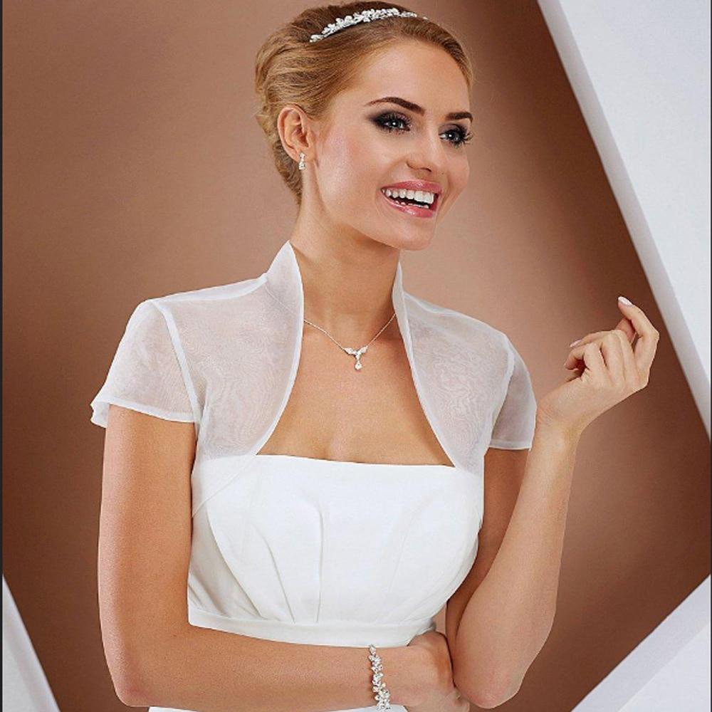 Short Sleeve Wedding Jacket Organza Summer Bolero Jackets For Bridal Party Coat Free Shipping Bridal Wrap Custom Made