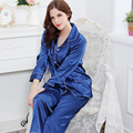 Бесплатная Доставка 2017 Новый Женщины Шелковые Пижамы С Длинным Рукавом Мягкий Кардиган Пижамы Удобные Пижамы Набор 4 Цветов