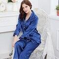 Free Shipping 2017 New Women Silk Pajamas Long Sleeve Soft Cardigan Sleepwear Comfortable Pajamas Set 4 Colors