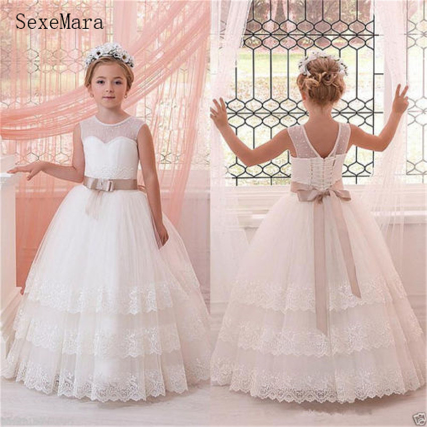 Well-Designed   Flower     Girl     Dress   First Communion Gown With Belt Lace Up Exclusive Custom Made Pageant Gowns Tulle Tiered Backless