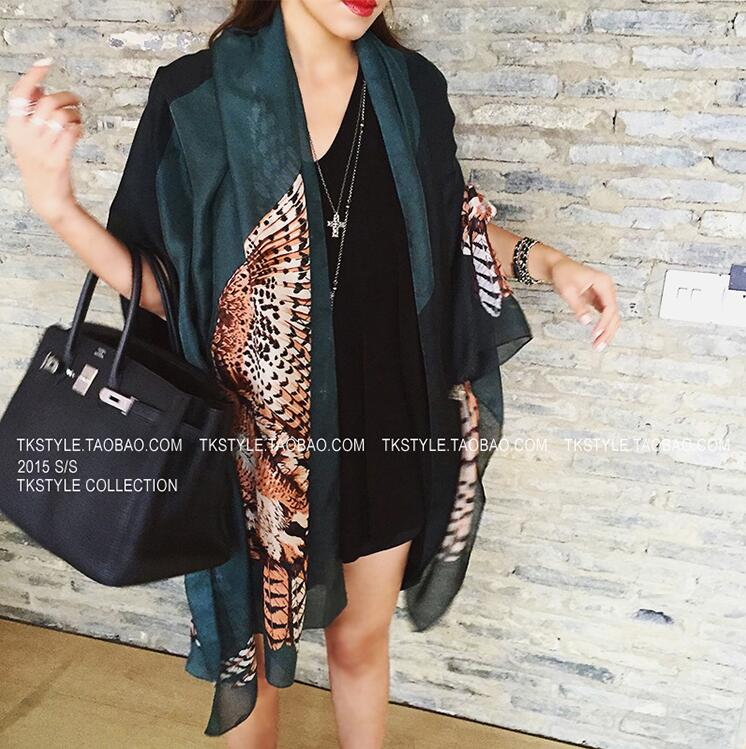 The new owl oversized scarves air conditioning shawl beach summer sun beach towel long silk scarf thin section