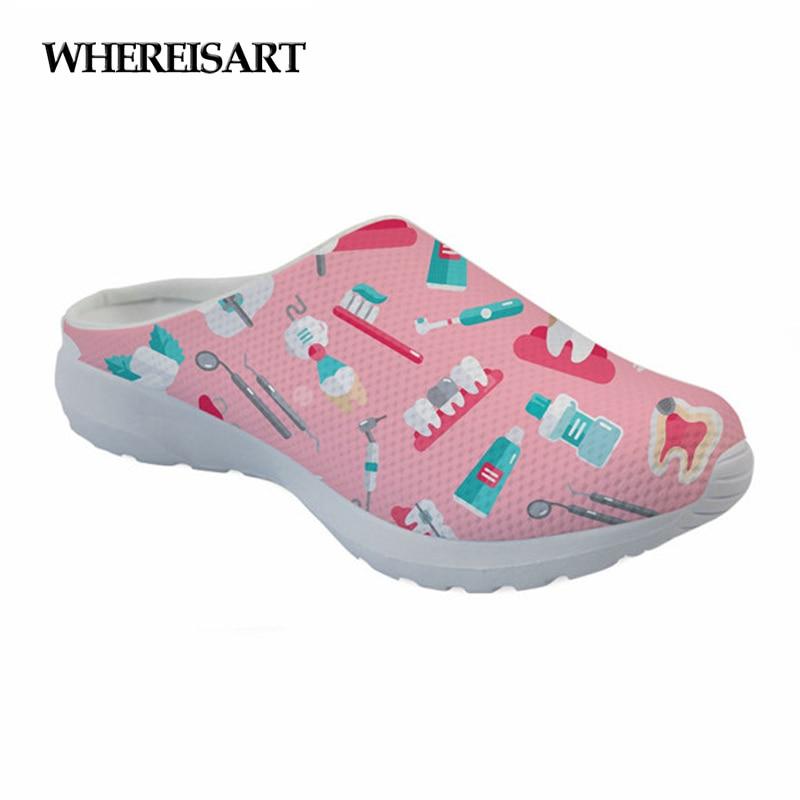 WHEREISART Women Shoes 2019 Summer Sandals Dentista Printing Home Slippers Pink Breathable Indoor Slides Female Walking Mules
