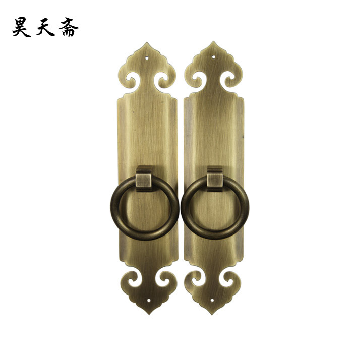 [Haotian vegetarian] new classical Chinese antique copper door lock handle HTC-306 antique brass handle [haotian vegetarian] antique chinese noodles copper handle cabinet handle cabinet door handle classical handle htc 255