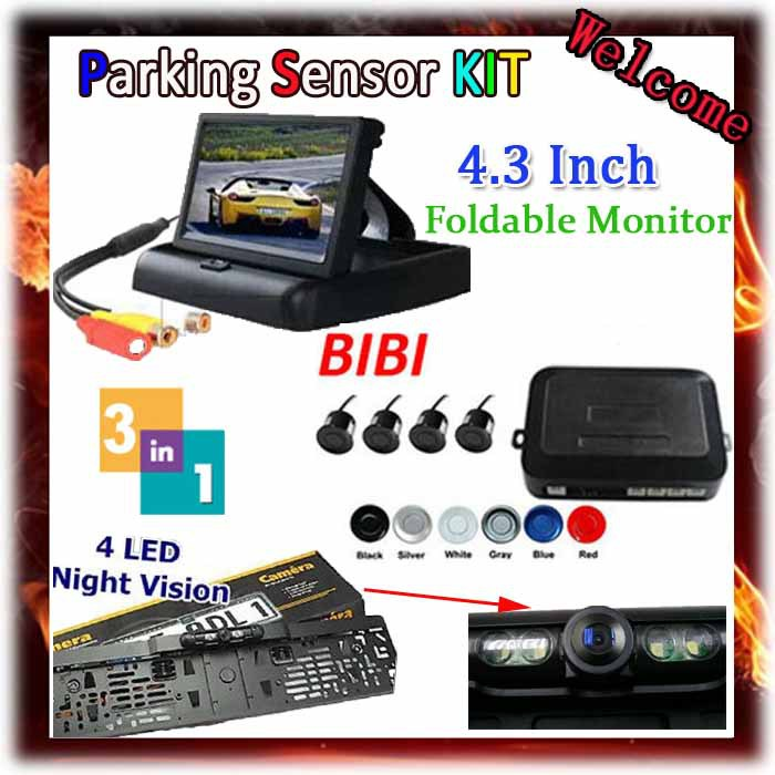 4.3 Color TFT LCD Car Rearview Mirror Monitor & car license plate camera & Backup radar system with 4 reverse parking sensors 7 inch tft lcd touch screen car rearview mirror monitor backup camera