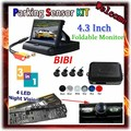 "4.3"" Color TFT LCD Car Rearview Mirror Monitor & car license plate camera & Backup radar system with 4 reverse parking sensors"