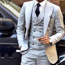 Светло-серый Для мужчин Свадебный костюм Slim Fit 3 предмета смокинг жениха дружки пользовательского Для мужчин костюмы для свадьбы traje hombre