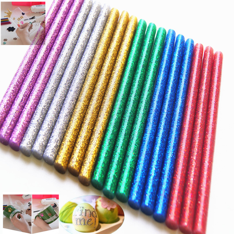 10pcs Colored Hot Melt Glue Sticks 7 X 100mm Glitter Powder Adhesive Professional Electric Glue Gun Christmas Crafts DIY Repair