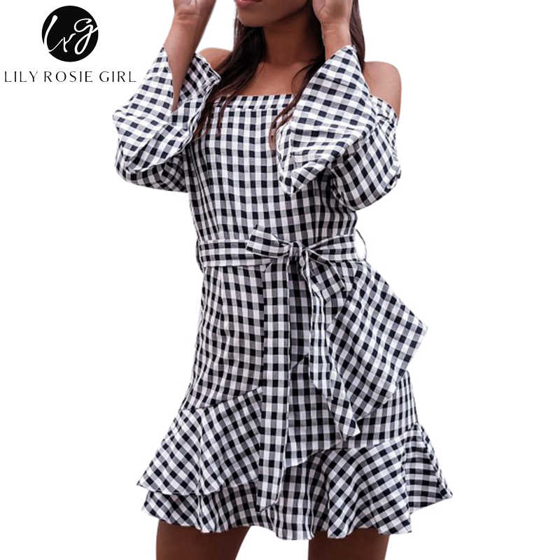 Lily Rosie девушка черный плед сексуальный Vestido с открытыми плечами женские платья с рукавом-клеш 2018 летние оборки вечерние Slash шеи платье