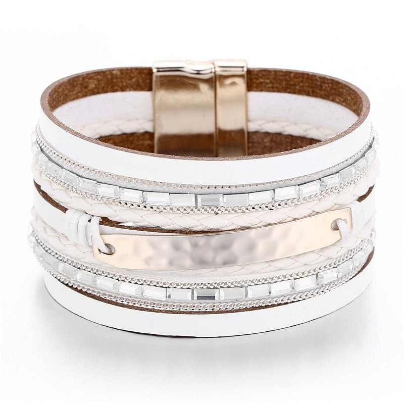 17KM New Vintage Pearl Beads Leather Bracelets & Bangles For Women 2019 Handmade Multiple Layer Wristband Bracelet Jewelry Gifts