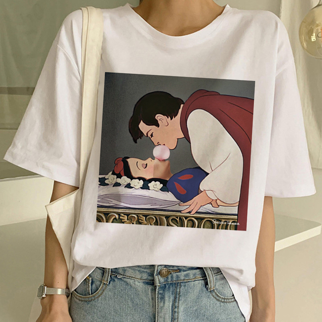 55e72e48b7ce7 US $3.15 30% OFF|New Women's Dark Snow White Harajuku T Shirt Woman Casual  Short Sleeve Tshirt Funny Print T shirt Ullzang Summer Top Tees Female-in  ...