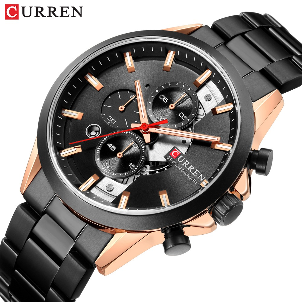 CURREN 2019 Mens Watches Fashion Sport Watch Chronograph And Calendar Wristwatch With Stainless Steel Strap Relogio Masculino