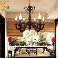 Ferro forjado vela do candelabro Mediterrâneo Europeu retro sala de estar quarto restaurante lustre de ferro antigo levou