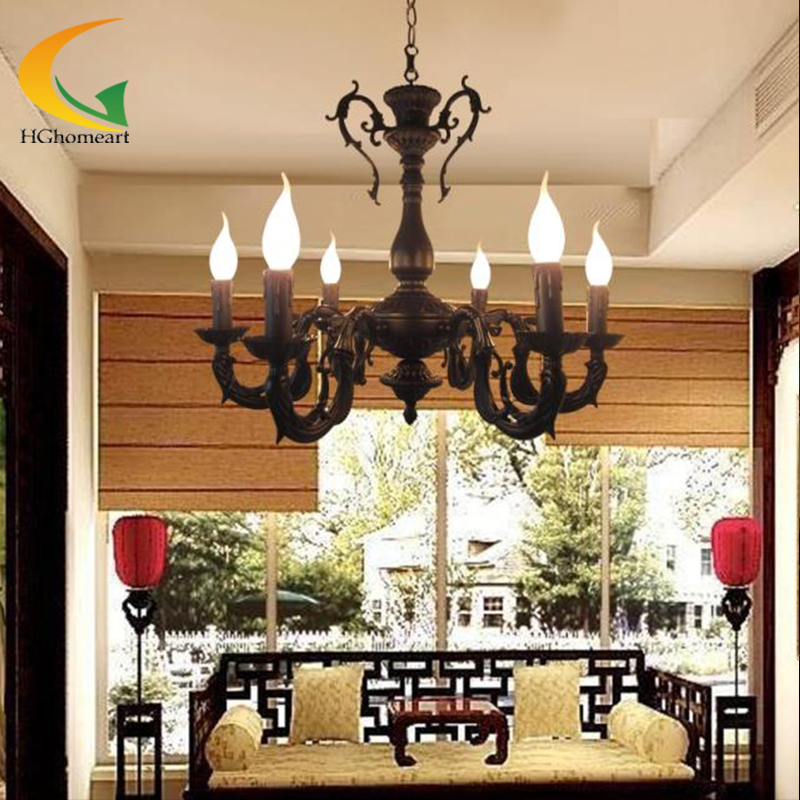 Wrought iron candle chandelier European retro Mediterranean living room bedroom restaurant antique iron chandelier led free shipping candle lamp wrought iron restaurant bedroom chandeliers rural white candle wrought iron pendant led lights