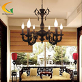 Wrought iron candle chandelier European retro Mediterranean living room bedroom restaurant antique iron chandelier led