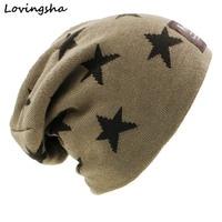 New Fashion Skullies Bonnet Stars Design Winter Hats For Men Women Faux Fur Warm Baggy Knitted