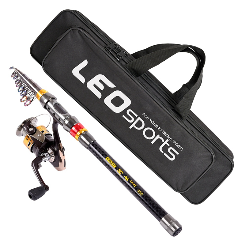 Leo 2.1M Fishing Rod Reel Kit With Carbon Fiber Fishing Rod Pole + Spinning Fishing Reel + Fishing Tack
