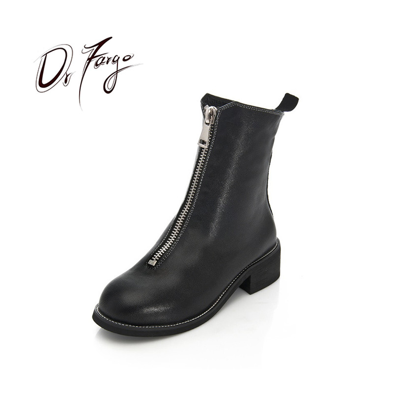 drfargo genuine leather shoes women zipper boots winter spring warm round toe plus big size 34 44 femme chaussure mujer zapatos DRFARGO Genuine Leather Shoes Women Sheepskin Mid-calf Winter Boots Thick Heel Front Zipper Round Toe Motorcycle Boots size 43