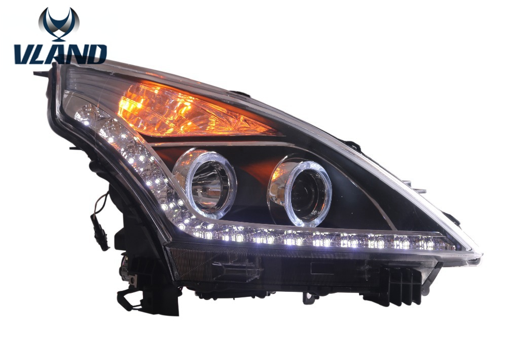 Free shipping vland factory For Teana 2008-2012 dual halo led projector front headlights