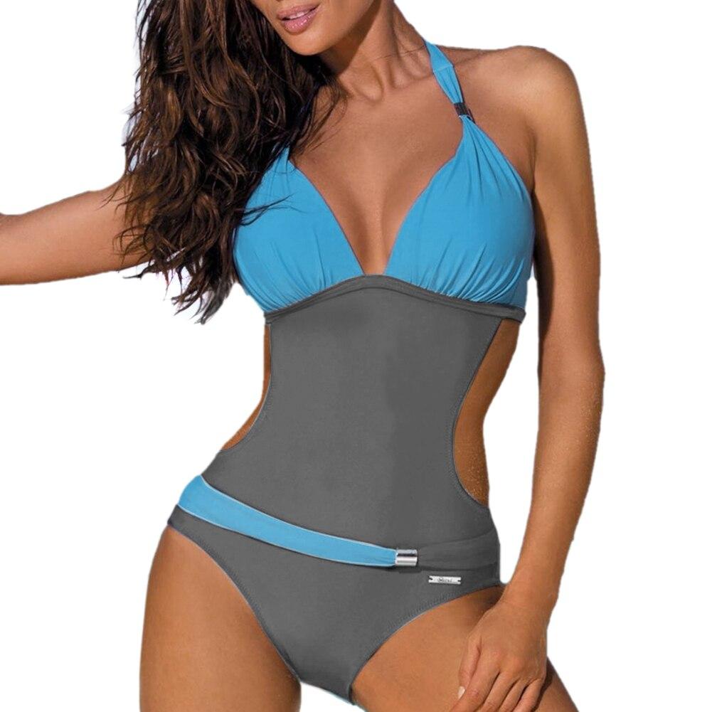 New Sexy Women Padded monokini Backless Bandage Swimsuit Bathing Suit Swimwear deep V one piece monokini Thong Bikini swimsuit  2