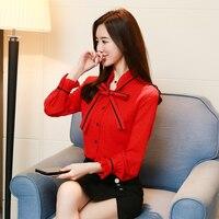 2018 Spring New Chiffon Shirt Bowknot Coat Women Korean Fashion Polka Dot Print Office Lady Tops