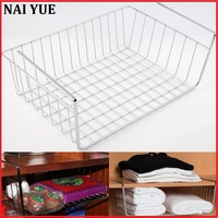 New Silver Kitchen Under Shelf Storage Basket Lightweight Metal Organise