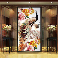 Hot Sale DIY 5D Round Diamond Painting Cross Stitch Kit Rich Flowers Peacocks Peony Painting Diamonds