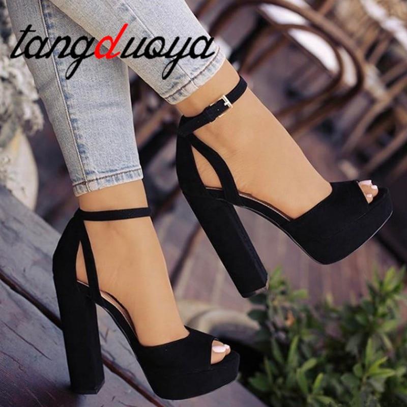 Womens Platform Block high chunky heel
