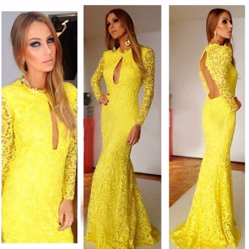 Popular Yellow Mermaid Prom Dress-Buy Cheap Yellow Mermaid Prom ...