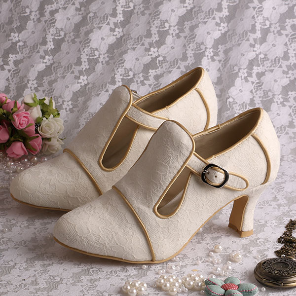 Wedopus Mw189 Medium Heel Vintage Shoes For Women Ivory Lace