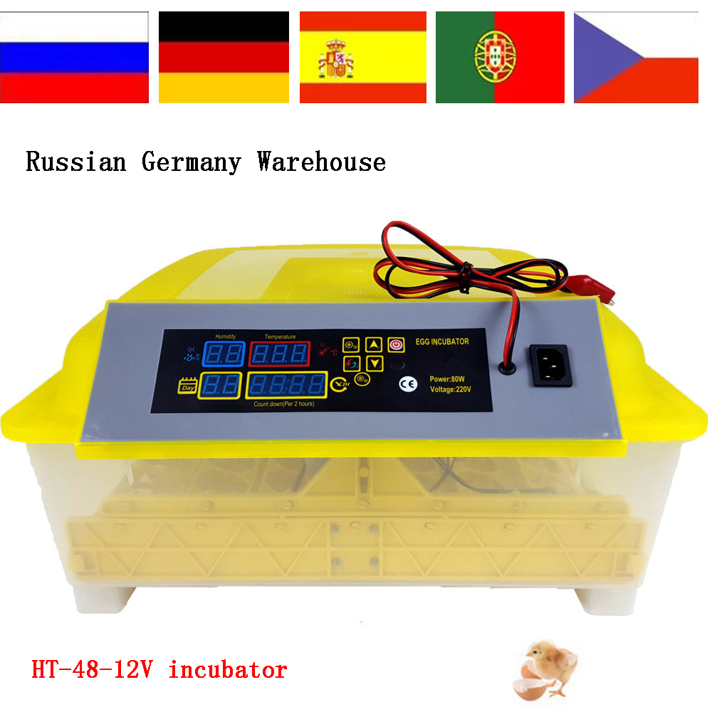 Cheap Price 12V 220V Poultry Machine48 Digital Temperature Full Automatic Egg Incubator for Chicken Duck Quail Parrot