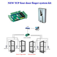 TCP four door access controller system kit. comprises four Door controller,exit button , Finger reader,finger collecting,TF04