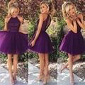 2016 Short Party Dresses Sexy Purple Dresses Halter Neck Sleeveless Knee Length Tulle Prom Gowns Semi Formal Dresses w6071908